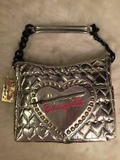 Betsey Johnson Betseyville Metallic Silver Quilted Heart Satchel Shoulder Tote