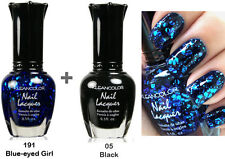 kleancolor nail polish -2 pcs Set-Blue Eyed Girl & Black