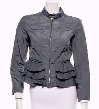 $695 ARMANI COLLEZIONI Gray Cotton Blend Long Sleeve Ruffle Detail Jacket Sz 10