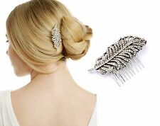 H74 Forever 21 Hair Piece Crystal Rustic Feather Wedding Bridal Hair-do Comb US
