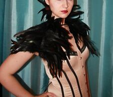Black Feather Jacket Victorian Collar Shrug Cape Capelet Steampunk Halloween
