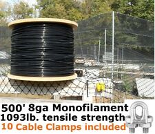 500' 8GA CABLE SUPPORTS POULTRY AVIARY NETTING DEER BLOCK NET & 10 Cable Clamps