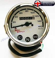 ROYAL ENFIELD SPEEDOMETER 0-160 Km/h WHITE DIAL FACE HI-BEAM NEUTRAL TRAFFICATOR