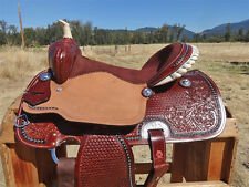 "17"" ROUGH OUT LEATHER WESTERN COWBOY BARREL RACING TRAIL HORSE SADDLE TACK"