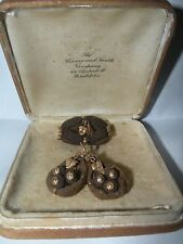 ANTIQUE 12k GOLD MOURNING HAIR EARRINGS & BROOCH LEAVES