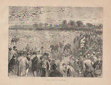 Coursing, Greyhound Dogs, Rabbit, Hunting, Vintage, 1870 Antique Art, Print,