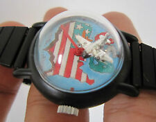 Rare Vintage Men Mystery Winding Watch Moving Airplane as Second Hand SWISS