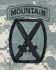 10th Mountain US Army ACU Unit Patch w/ Mountain Tab & Hook Fastener Backing