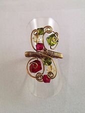 Handmade Wire Work Wrap Adjustable Ring -Fuchsia Green Swarovski Crystals