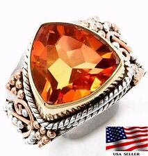 5CT Padparadscha Sapphire 925 Solid Sterling Silver Victorian Style Ring Sz 7.25