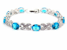Silver 18ct White Gold Plated London Blue Topaz 19.53ct Tennis Bracelet