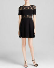 French Connection Black Lace Illusion Fit & Flare S/S Dress $158 NWT 10