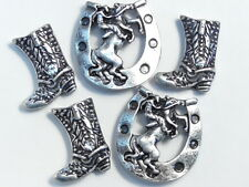 5 - 2 HOLE BEADS ANTIQUED SILVER COWBOY BOOT HORSESHOE BUCKING HORSE & RIDER