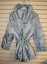 NEW WOMENS PLUS SIZE 2X GRAY GREY FEMININE PARKA LIGHT WEIGHT JACKET SNAPS W TIE