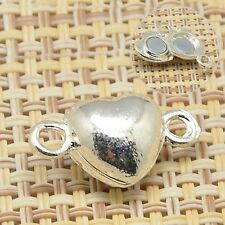 5sets Brass Magnetic Clasps Heart Silver Jewelry Findings for Necklace Bracelet