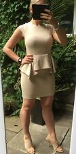 TOPSHOP NUDE/ BEIGE PEPLUM SCUBA PENCIL WIGGLE DRESS SIZE 10
