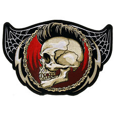 PUNK SKULL EMBROIDERED 5 INCH IRON ON MC BIKER  PATCH