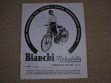 BIANCHI MOBYLETTE VERBANO 48 ORIGINAL 1963 ADVERTISING PUBBLICITA WERBUNG REKLAM