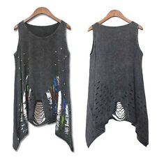 Fashion Women Tank Top Punk Rock Hole Pok Print Sleeveless Casual Tops Clothes