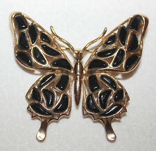 STUNNING CROWN TRIFARI BUTTERFLY PIN WITH MOLDED GLASS-EXCELLENT!!!!