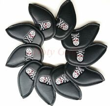 10PCS PU Golf Skull Iron Cover For Callaway Titleist Taylormade Iron Club Set