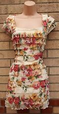 RIVER ISLAND CREAM GREEN PINK FLORAL TIERED RUFFLE FRILLY BODYCON TUBE DRESS 10