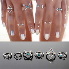 6PCS/Set Bohemia Vintage Boho Rings Women Girls Knuckle Joint Ring Sets Jewelry