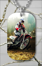 MOTOCROSS EXTREME SPORT SPEED DOG TAG PENDANT NECKLACE FREE CHAIN -fbv7Z