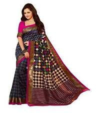Indian Designer Blue Checks with Pink Border Printed  Bhagalpuri Silk Saree....
