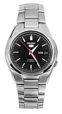 Seiko 5 SNK607 Men's Stainless Steel Black Dial Day Date Automatic Watch