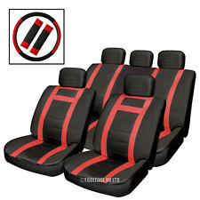 BLACK & RED LEATHER LOOK CAR SEAT COVERS SET PLUS STEERING WHEEL GLOVE AND PADS