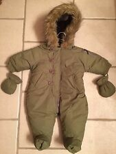 Juicy Couture Baby Army Green Fur Lined Hooded Puffer Snowsuit w/ Mittens 3-6M