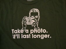 "Old Navy ""Take a Photo, It'll Last Longer"" Camera Picture Dark Green T Shirt L"