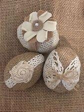 Primitive Handmade Easter Eggs Spring Jute Burlap Bowl Filler Ribbon Rustic Set3