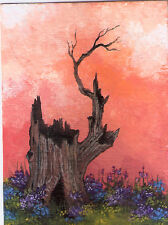 ACEO tree stump landscape flowers garden original painting by MOTYL
