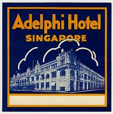 Adelphi Hotel SINGAPORE Singapur * Old Luggage Label Kofferaufkleber