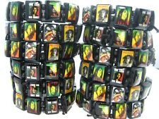 24pcs black Bob Marley Rasta Reggae wood stretch bracelets free shipping