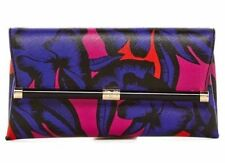 DVF DIANE VON FÜRSTENBERG $228 LEOPARD POPPY LEATHER ENVELOPE CLUTCH BAG