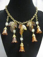 Vintage Bohemian Falling Leaves Necklace Amber Colored Plastic & Glass Beads