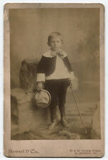 CABINET CARD YOUNG BOY HOLDING SAILOR HAT AND WALKING STICK. ALLEGHENY, PA.