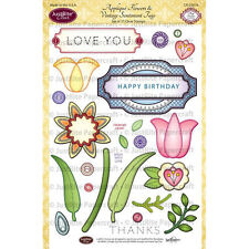Justrite Applique Flowers Vintage Sentiments Tag Set of 27 Clear Stamps JRCR2019