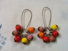 czech glass beaded Earrings HARLEQUIN Cluster Dangle deco Style Red Orange Pink