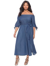 Eloquii blue chambray off the shoulder tie dress 18