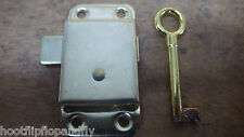 SMALL BRASS PLATED EB WARDROBE LOCK CABINET CUPBOARD DOOR WITH KEY 52mm x 26mm
