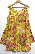 Hippie Lagenlook Tunic Top Dress Boho Beach Kaftan Size 16 18 20 22 24 26 28