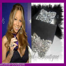 Crystal Zirconia Mariah Carey style MC Silver Plated Adjustable Butterfly Ring