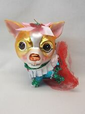 Chihuahua  Dog Fancy Glass Christmas Tree Ornament 4 1/2In String to hang