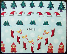 Weihnachten, Xmas Water Nail Sticker Tatoo No. AS035  - gespiegelt