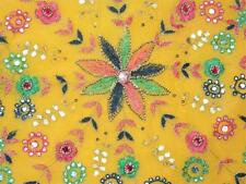 YELLOW VINTAGE SARI PURE GEORGETTE SAREE FLORAL EMBROIDERED FABRIC CRAFT DRESS