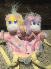 VINTAGE 1989 TURTLE TOTS TWINS PLUSH WITH SHELL CRADLE CARRIER MATTEL